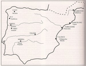 Les évêchés ariens vers 589 (BONNERY, AFAM, 1991)